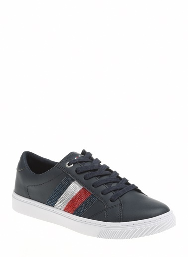 Tommy Hilfiger Kadın Crystal Leather Casual Sneakers FW0FW04299 Lacivert